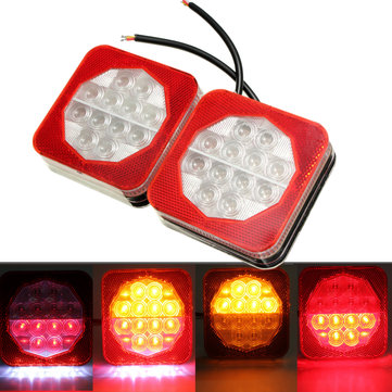 1pair 12V LED Trailer Van Truck Rear Brake Tail Indicator Light License Plate Lamp