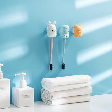 Home Bathroom Cute Animal Shape Waterproof Powerful Suction Silicone Toothbrush Holder