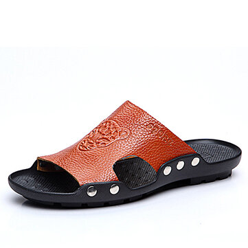 S-4241044 Men's Sandals Leather Stylish Tiger Pattern Beach shoes Special Sole