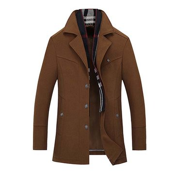 Mens Woolen Blend Turn-down Collar Jacket British Style Casual Winter Trench Coat