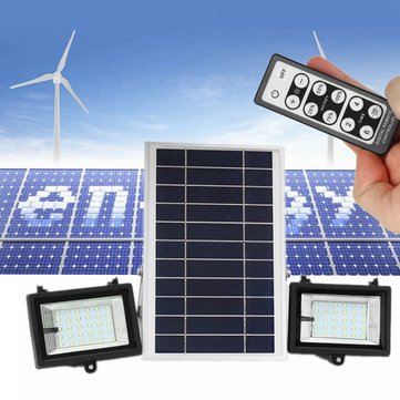 2Pcs Remote Control 30 LED Flood Light Dimmable Timer Waterproof Solar Light Street Light