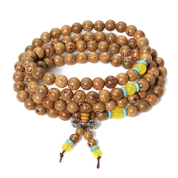 108 Wenge Wood Buddha Buddhist Prayer Beads Necklace Bracelet for Men Women