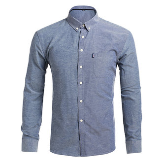 Mens Business Casual Pure Color Slim Fit Long-sleeved Shirts