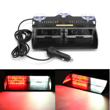 18W White&Red Wind Shield Emergency Flashing LED Strobe Warning Light Interior Dash