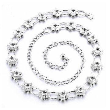 Flower Lady Waist Chain Women Silver Belt Necklace Body Jewelry