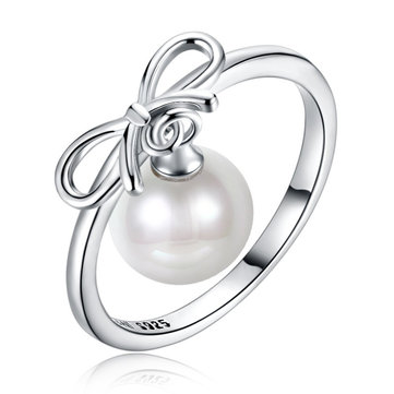 Bowknot Shape Dangle Charm Pearl Rings Fashion Silver Ring