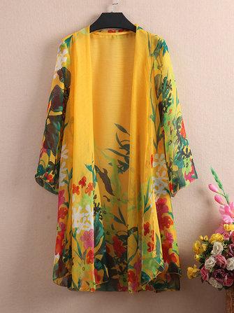 Floral Printed Sheer Kimono