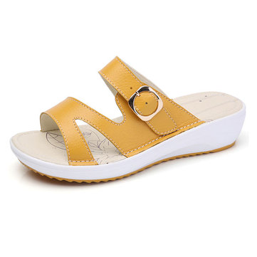Casual Slip On Buckle Peep Toe Platform Sandals