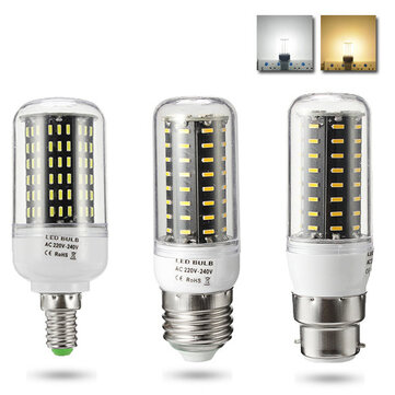 ZX E27 E14 B22 7W 12W LED SMD 4014 1000Lm Pure White Warm White Cover Corn Light Bulb AC110V AC220V