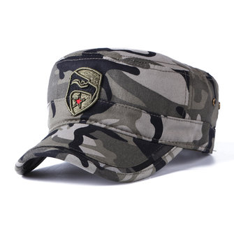 Mens Winter Cotton Camouflage Military Five-Pointed Star Flat Hats Outdoor Visor Forward Hat