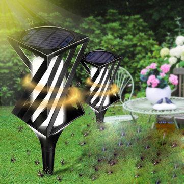 2個の太陽光発電LEDライトモスキートキラー昆虫忌避バグザッパー庭屋外庭のランプ