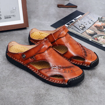 Men Genuine Leather Hollow Out Seaside Beach Sandals