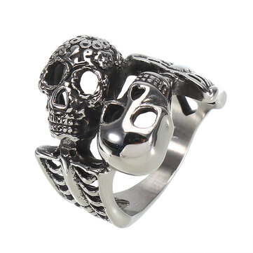 Fashion Titanium Steel Double Skull Ring 316L Stainless Steel Finger Ring Men's Jewelry