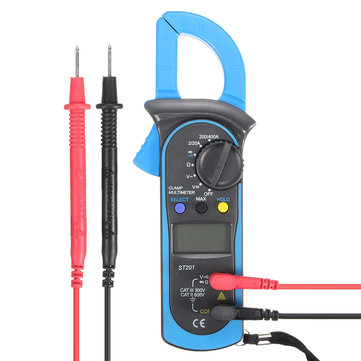ST-201 Digital Clamp Multimeter OHM Amp Meter AC/DC Current Voltage Resistance Tester