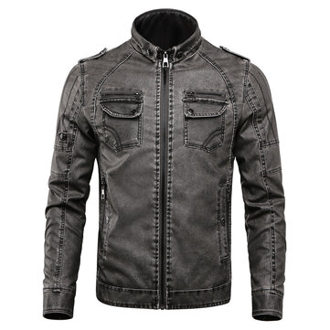 Winter Fleece Warm PU Faux Leather Motorcycle Biker Jacket