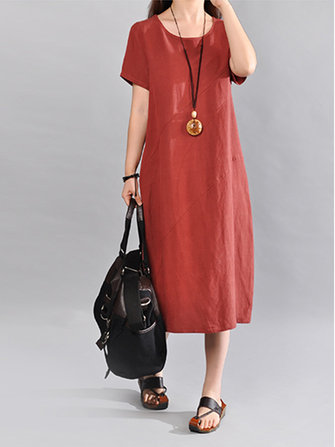 Women Short Sleeve Loose Solid Color Mid Long Dress