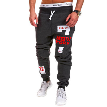 Men's Cotton Sports Loose Drawstring Elastic Waist Printing Casual Track Pants