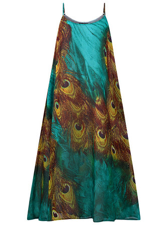 Bohemian Peacock Printed Spaghetti Strap Loose Women Dress