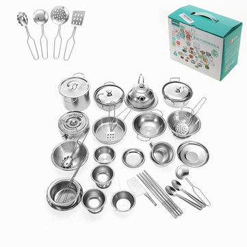 32PCS Mini Kitchenware Play Set Cuisine Pan Pot Dish Acier inoxydable Kids Role Play Toy Gift