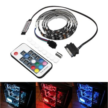 0.5M 1M Waterproof 15Pin SATA Magnetic RGB LED Strip Light +17Keys Remote Control for PC Case DC12V