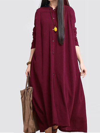 Women Buttons Down Cotton Vintage Ethnic Maxi Dress