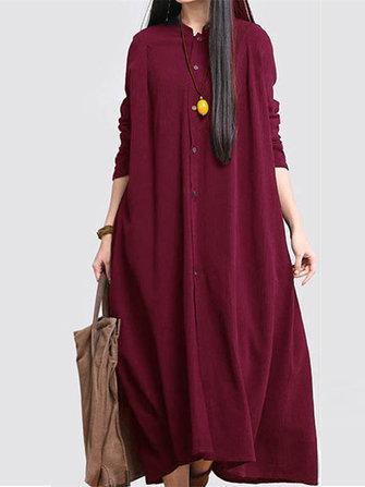 Women Buttons Down Cotton Vintage Ethnic Maxi Dress