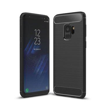 Bakeey Fibra de carbono textura anti impressão digital Soft TPU Caso Para Samsung Galaxy S9