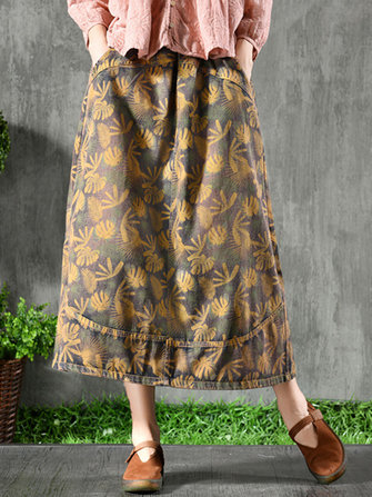 Women Vintage Elastic Waist Denim Floral Skirts with Pockets