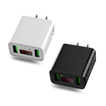 Bakeey 2.2A Dual Ports LED Display US Plug Fast Charger For iPhone X 8Plus Oneplus 5t Xiaomi 6 Mi A1