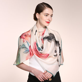 Women Classical Ink Painting Scarves Casual Soft Multi-function Shawl Scarf