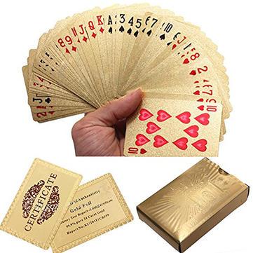 24k hoja de oro jugando a las cartas de póquer chapado Certficate dólar euro