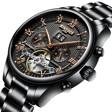 KINYUED JYD-J012 Working Sub-dials Automatic Mechanical Watch Stainless Steel Strap Men Wrist Watch