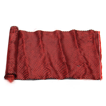 30x100cm Carbon Fiber Fabric Aramid Twill Cloth Film Red Black 200gsm for Craft DIY Decoration