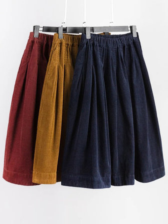 Mori Girl Pure Color Elastic Waist Side Pocket Corduroy Skirt