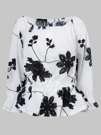 Sexy Women Flower Embroidery Off Shoulder Ruffle T-Shirt