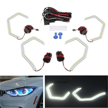 Kit LED Angel Eye Lights Halo Losange M4 Style with Relay Wirings for BMW 2/3/4/5 Series
