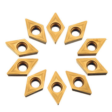 Drillpro 10pcs DCMT070204 Carbide Inserts DCMT0702 Carbide Cutter For Turning Tool Holder