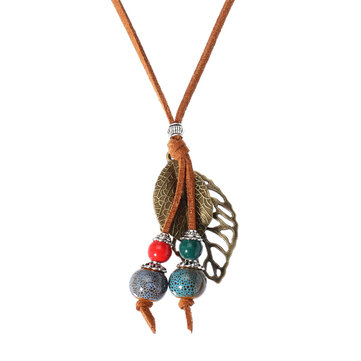 Retro Ceramic Colorful Beads Ball Leaf Leather Rope Necklace