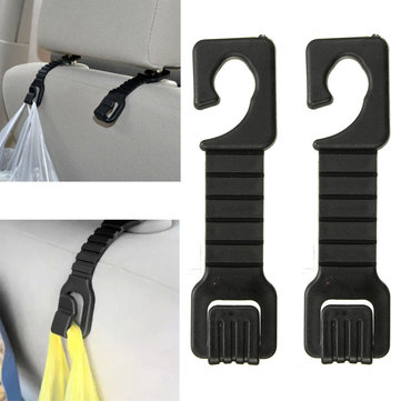 Pair Car Auto Black Head Rest Shopping Luggage Bag Hanger Holder Hook Pothook