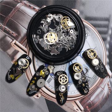 3D DIY Steampunk Mechanical Component Gear Wheel Nail Art Decoration Tips Metal Design Accessories