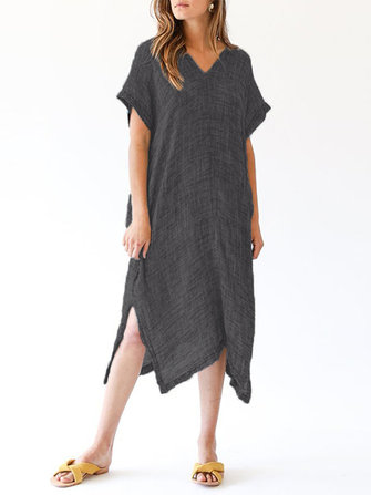 Women Retro Batwing Sleeve V-Neck Split Irregular Hem Dress