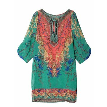 Women Boho Drawstring Floral Half Sleeve Loose Mini Dress