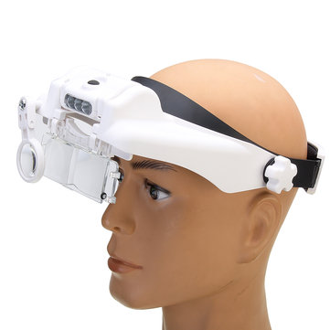 MG81000-SC 3LED Lights Headband Magnifier 3 Lenses 6 Multiples with USB Charging Function
