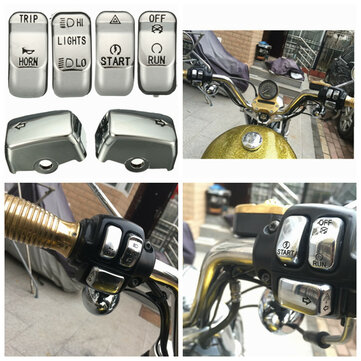 Motorcycle Control Switch Button Cap Cover Kit For Harley Softail Dyna Sportster