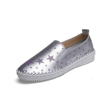 Women Casual Summer Loafers Star Pattern Slip On Flat Shoes