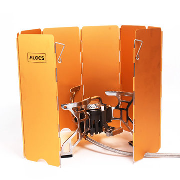 Alocs Outdooors Stove Wind Shield Folding 8 Plates Board Cooking Backplate Verge Board Aluminum Alloy