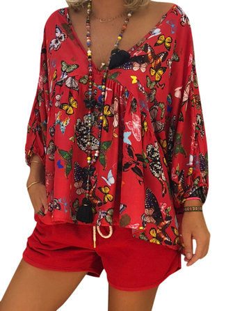 Women Butterfly Print V-neck Three Quarter Sleeve Blouse