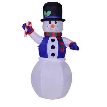 110-240V 1.8 M LED Luminous Inflatable Doll Blue Vest Snowman Shape Christmas Mall Shop Decorations