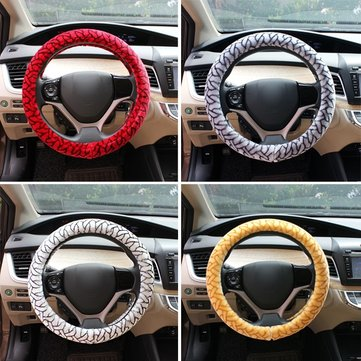 Fluffy Car Printing Steel Ring Wheel Cover Short Plush Winter Autumn Grip 38CM