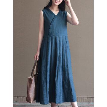 Vintage Women Ärmlös V-ring Pure Color Maxi Dress